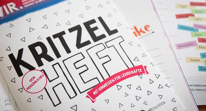 KF Education News Kritzelheft mit Hinweisen für Lehrkräfte